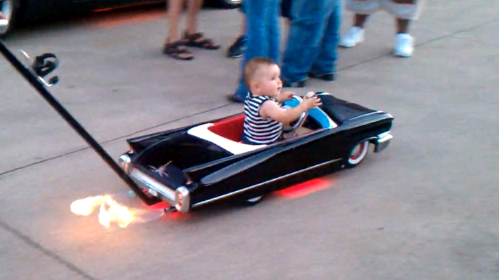 Because nothing says you love your kid more than a stroller that shoots flames...