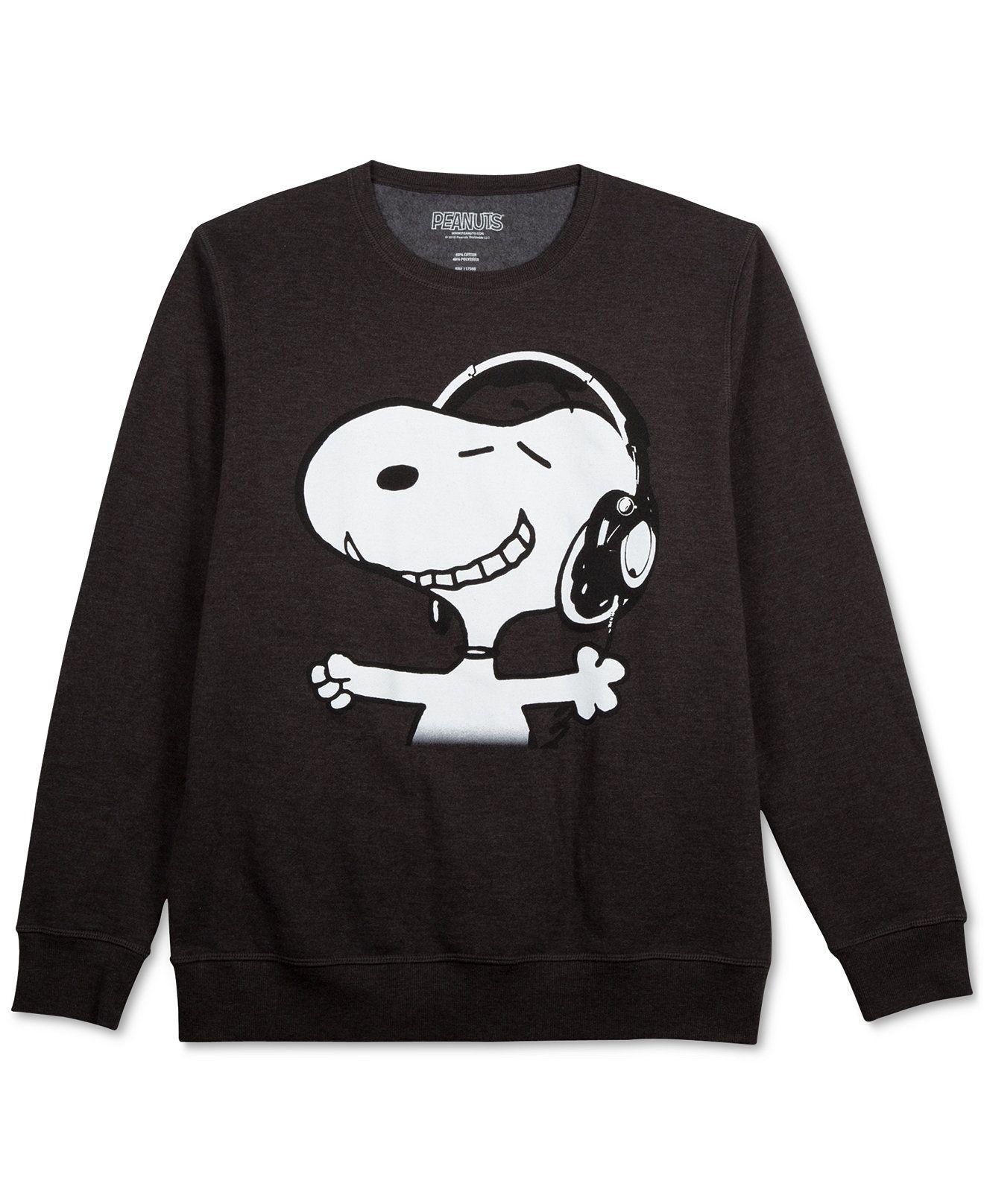 927036356 Jem Peanuts Snoopy Headphones Long Sleeve Fleece - T-Shirts - Men - Macy's