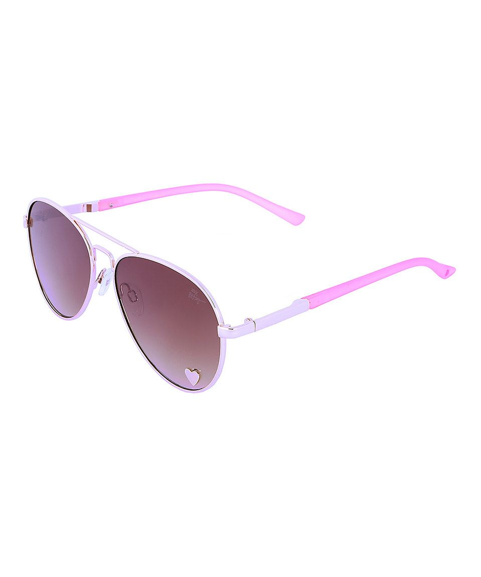 Love this Betsey Johnson White & Pink Aviator Sunglasses by Betsey ...