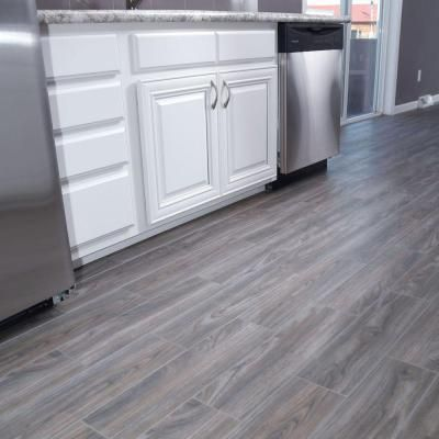 SnapStone Weathered Grey 6 in. x 24 in. Porcelain Floor Tile ...
