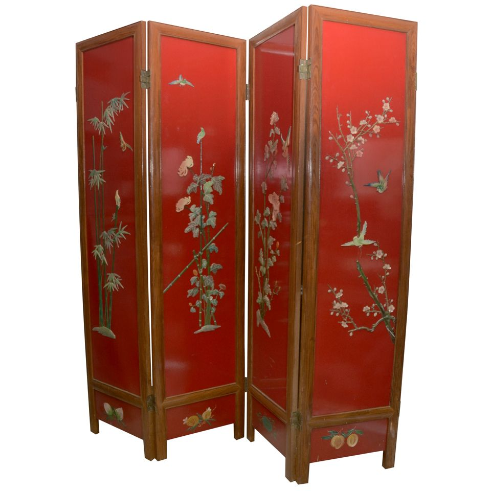 Chinese Red Lacquer 4 Panel Screen 1stdibs Com Antique Chinese