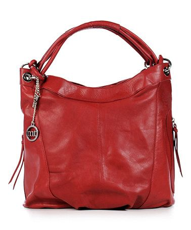 This Red Leather Hobo by Mia Tomazzi is perfect! #zulilyfinds