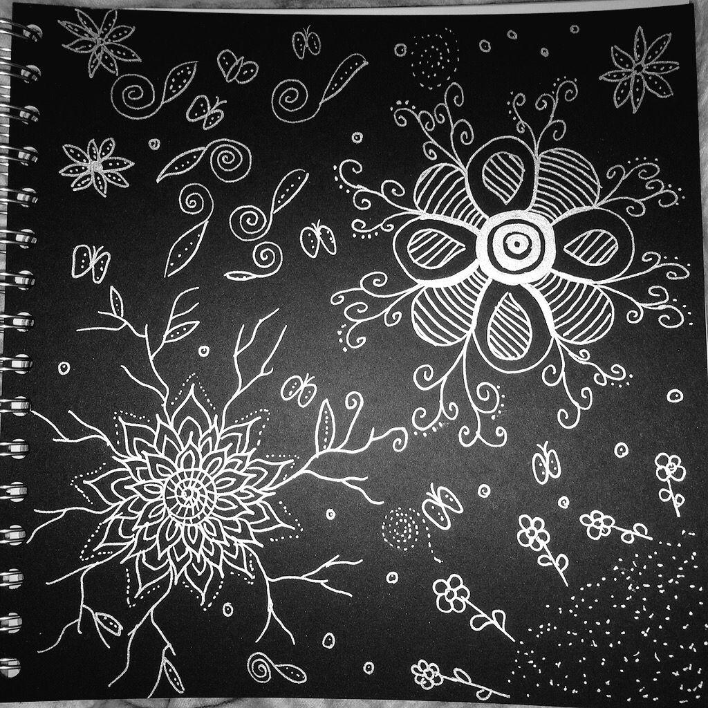 Silver on black doodle