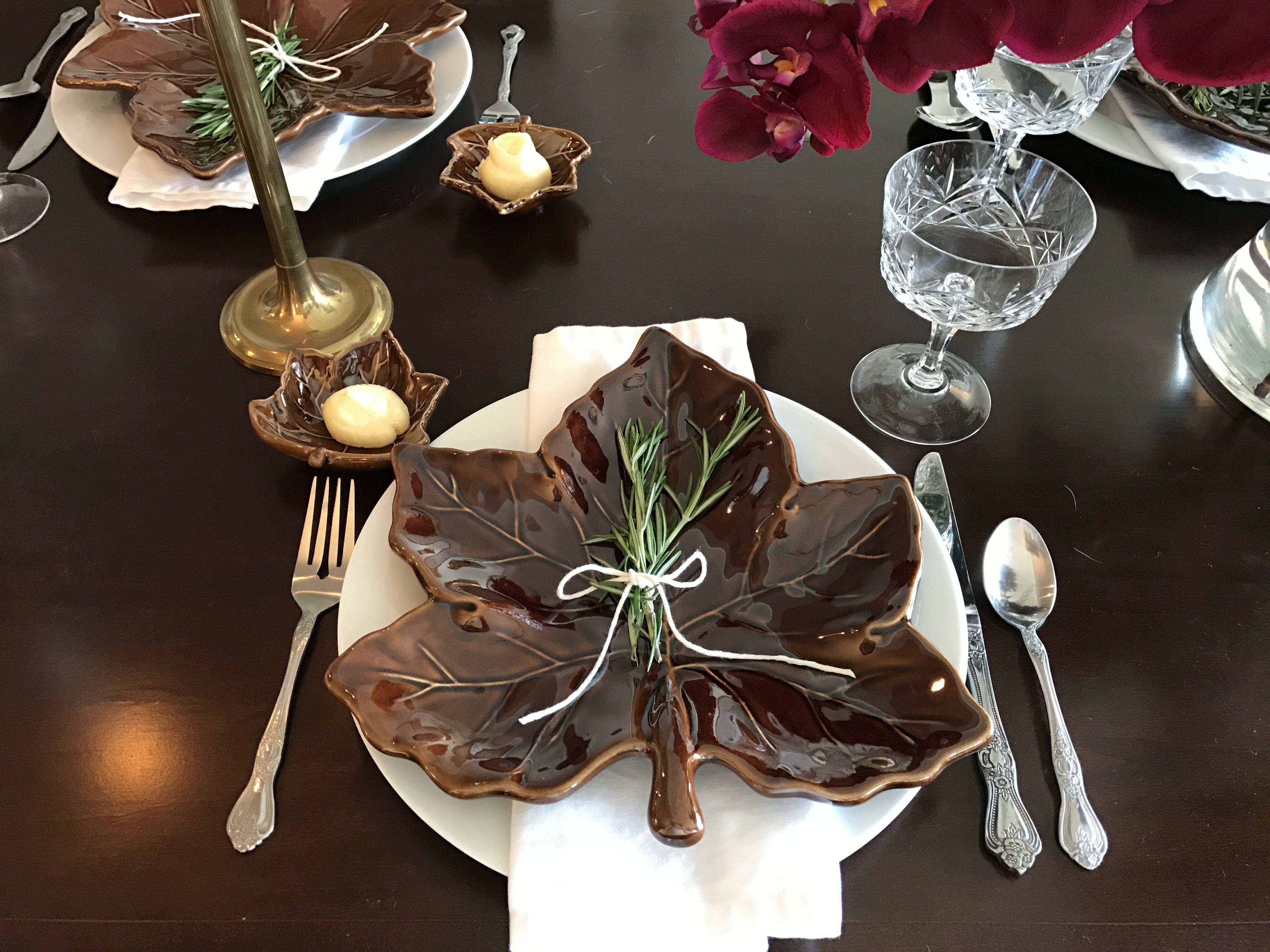 Thanksgiving table setting. Pottery Barn leaf plates, Williams Sonoma napkins, grandma's stemware & flatware. #thanksgiving #tablescape #placesetting