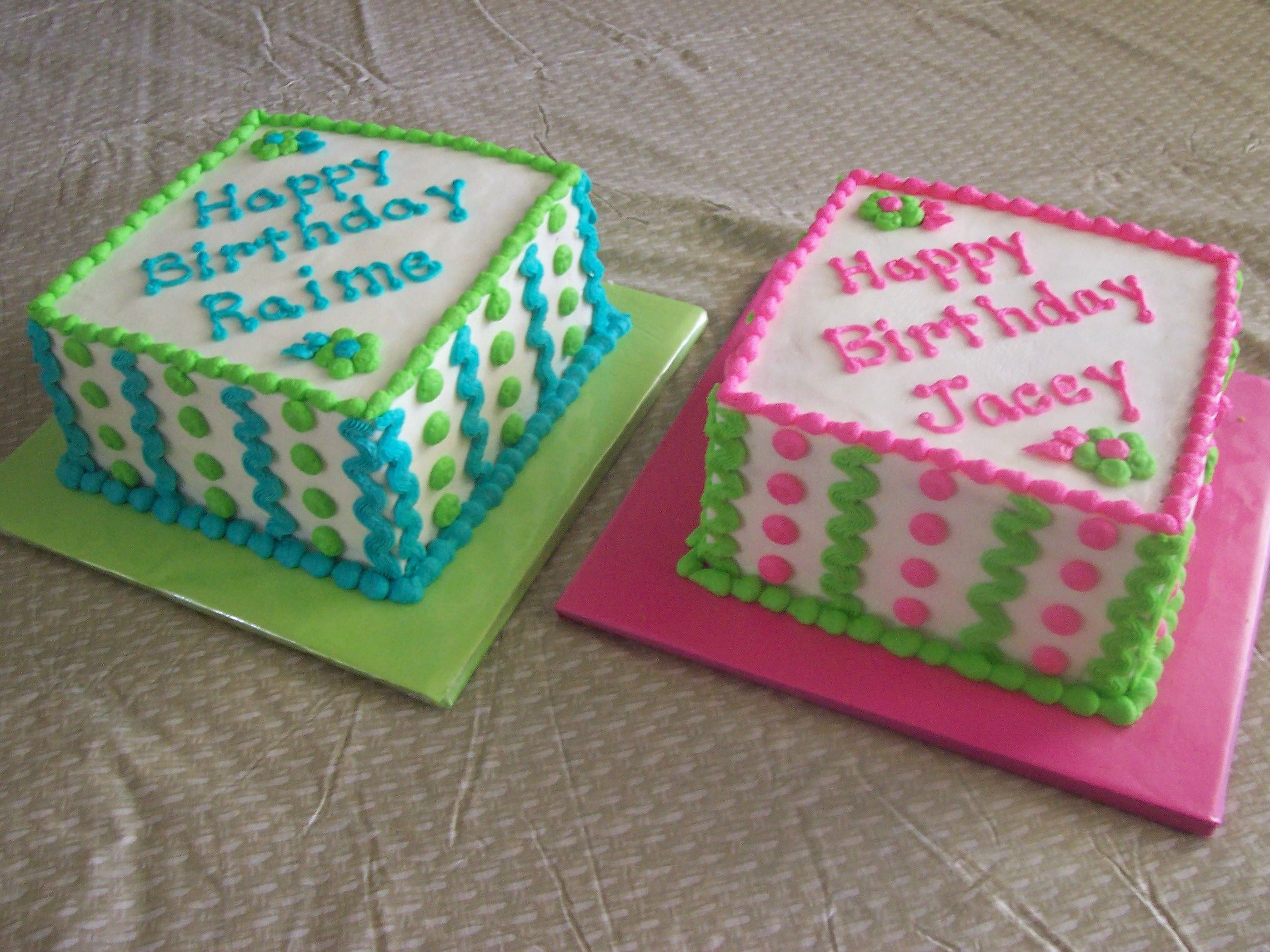 Pleasant Twins Birthday Cakes Twin Birthday Cakes Square Birthday Cake Funny Birthday Cards Online Hendilapandamsfinfo
