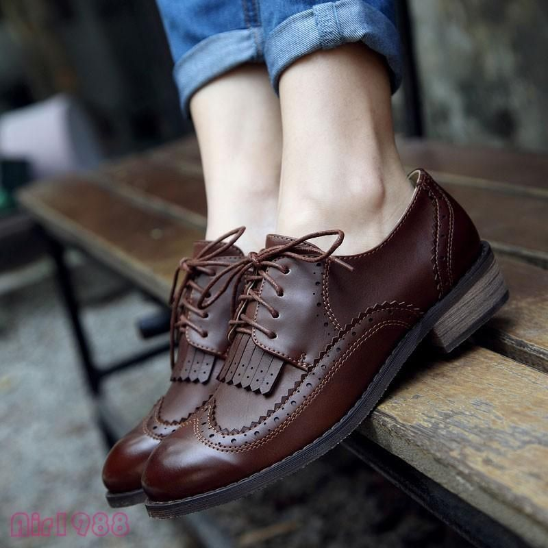 Vintage Womens Low Heels Tassels Wingtip Brogues Lace Up Oxford Shoes Casual New