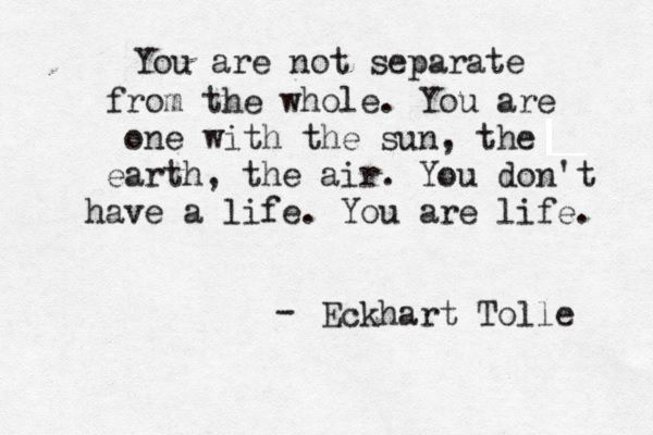"""You re not separate from the whole. You are one with the sun, the earth, the air. You don't have a life. You are a life."" - Eckhart Tolle"
