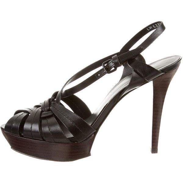 Pre-owned Stuart Weitzman Sandals (€68) ❤ liked on Polyvore featuring shoes, sandals, black, black sandals, genuine leather shoes, leather sandals, stacked heel sandals et leather shoes
