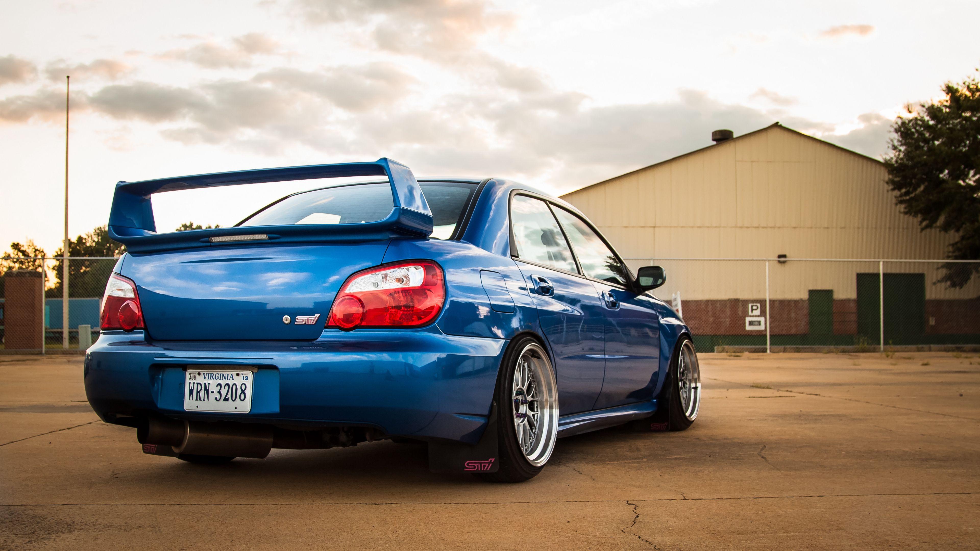 Subaru Impreza Wrx Sti Blue Rear View 4k Wrx Subaru Impreza Wrx Subaru Impreza