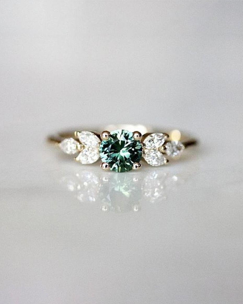 Evorden Eva Ring - Teal Sapphire Engagement Ring # ...