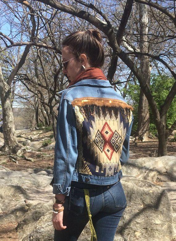 Etsy // boho aztec navajo trim embroidered denim jacket look // style fashion