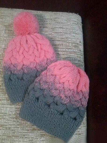 шапка косами с градиентом спицы шапки шарфы варежки и тп