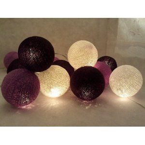 Black, Purple and White Cotton Ball String Lights Patio Wedding and Party Decoration(20pcs./set)