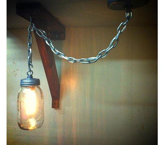 Items Similar To Galvanized Light Rustic Industrial: CHAIN MASON- Industrial Mason Jar Pendant Light Made With