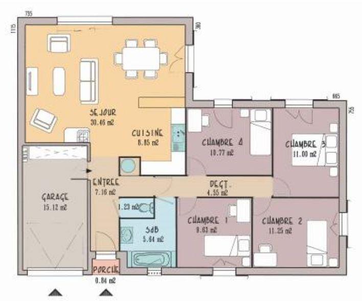 plan de maison 3 chambres et un bureau