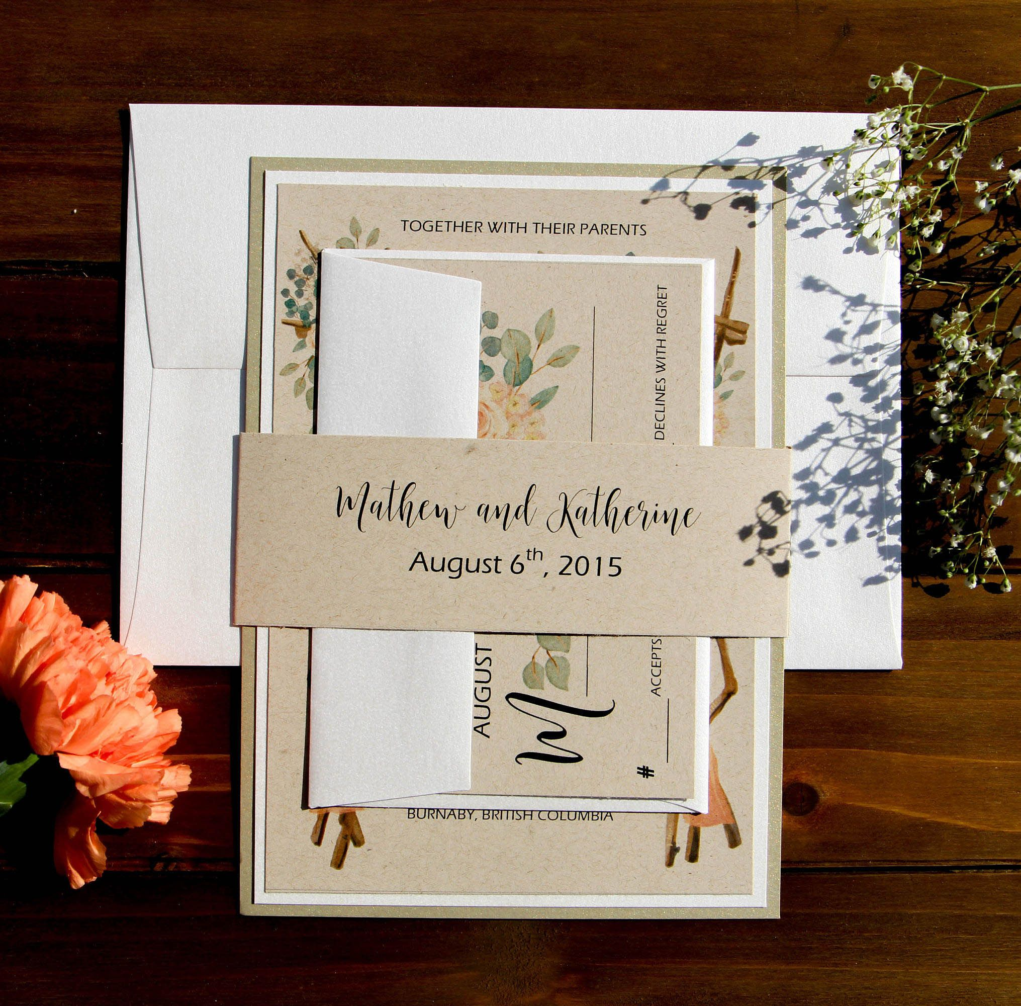 Gold and Cream Kraft Rustic Wedding Invitations with Printed Belly ...