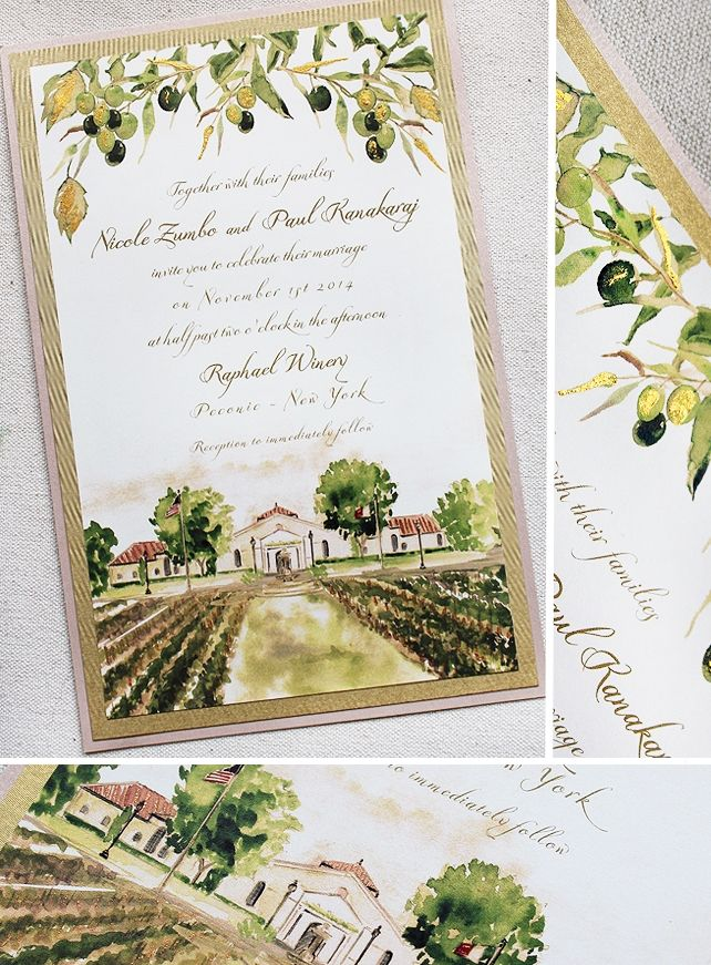 Nicole Z.   Watercolor Vineyard Wedding Invitations