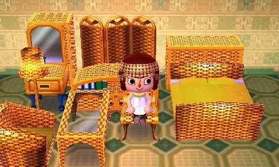 Animal Crossing New Leaf Customized Furniture Cabana Set Gold