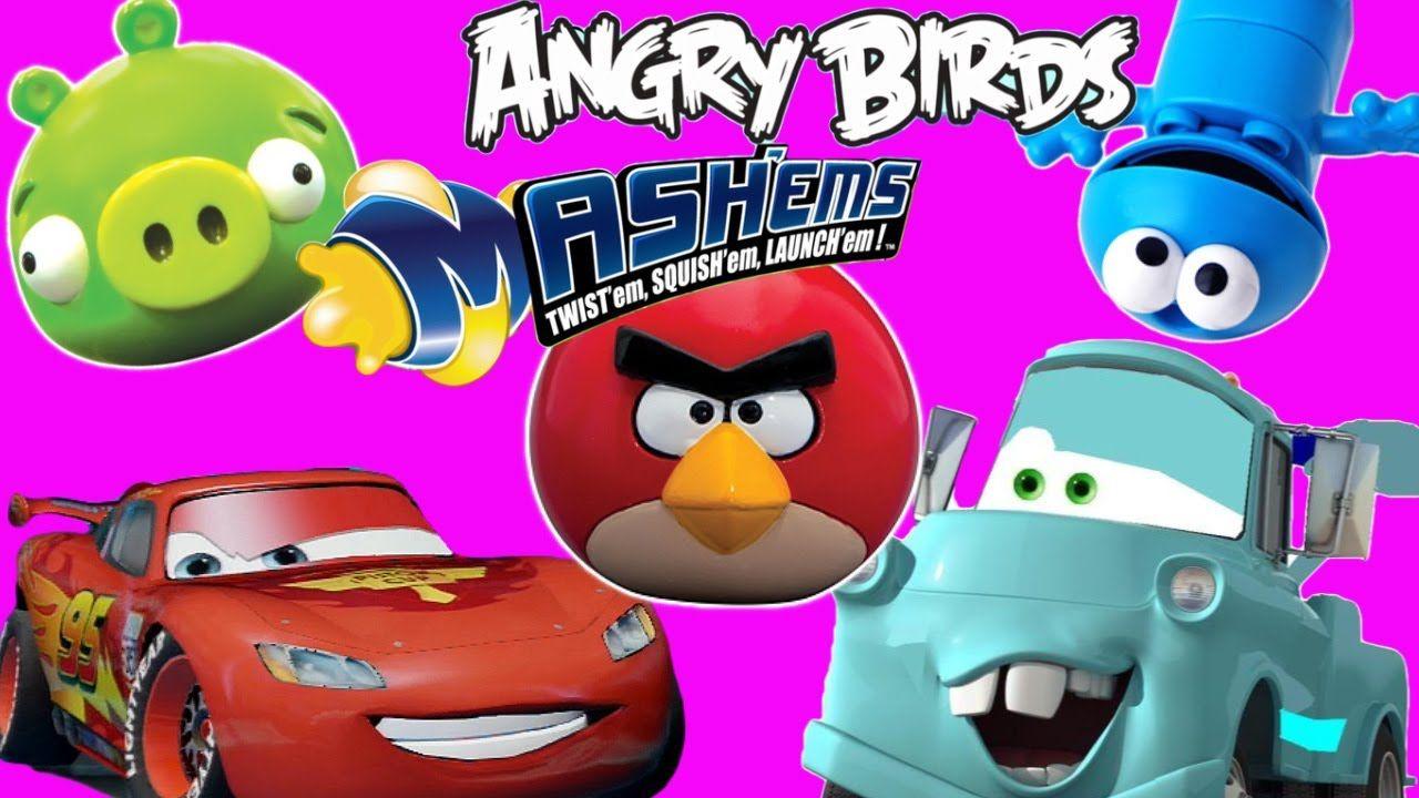 Angry Birds Mashems Series VS Disney Pixar Cars Mcqueen, Mater, Spongebo...