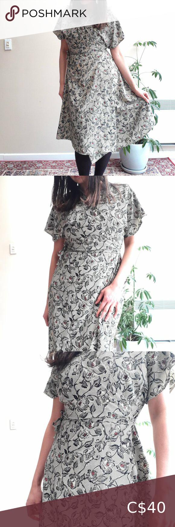 Floral Wrap Dress Vintage 90s Black Wh Wrap Dress Short Vintage Wrap Dress Wrap Dress Floral [ 1740 x 580 Pixel ]