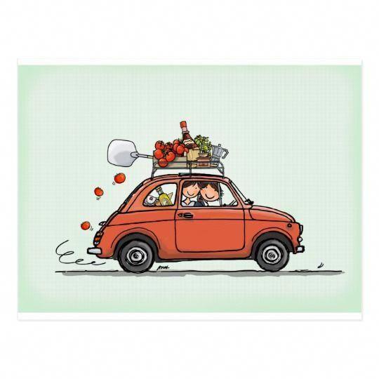 Vintage Fiat 500 Postcard | Zazzle.com