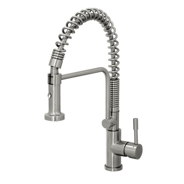 Perfect Geyser Stainless Steel Commercial Style Coiled Spring Kitchen Pull Down  Faucet