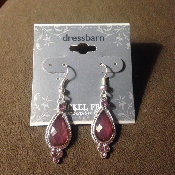 Bundled Silver Nickel Free Drop Earrings With Purple Maroon Stones Never Worn Dress