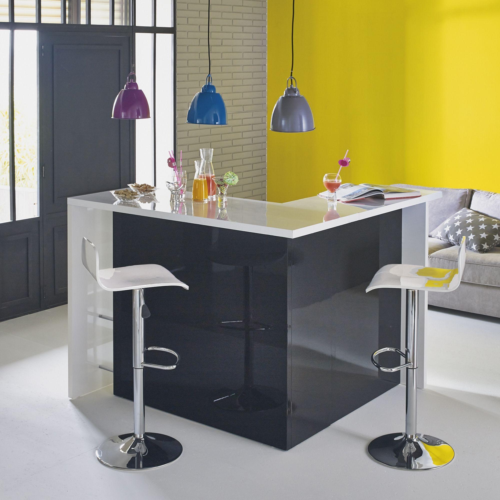 bar en angle moderne noir et blanc