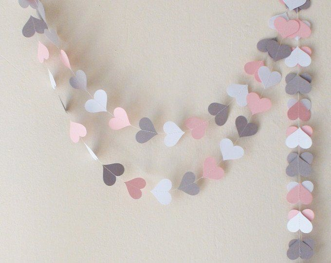 Paper Heart Garland/ Pink Gray and White Heart Banner / Wedding Backdrop / Bridal Shower Decor / Heart Garland / your color and size choice