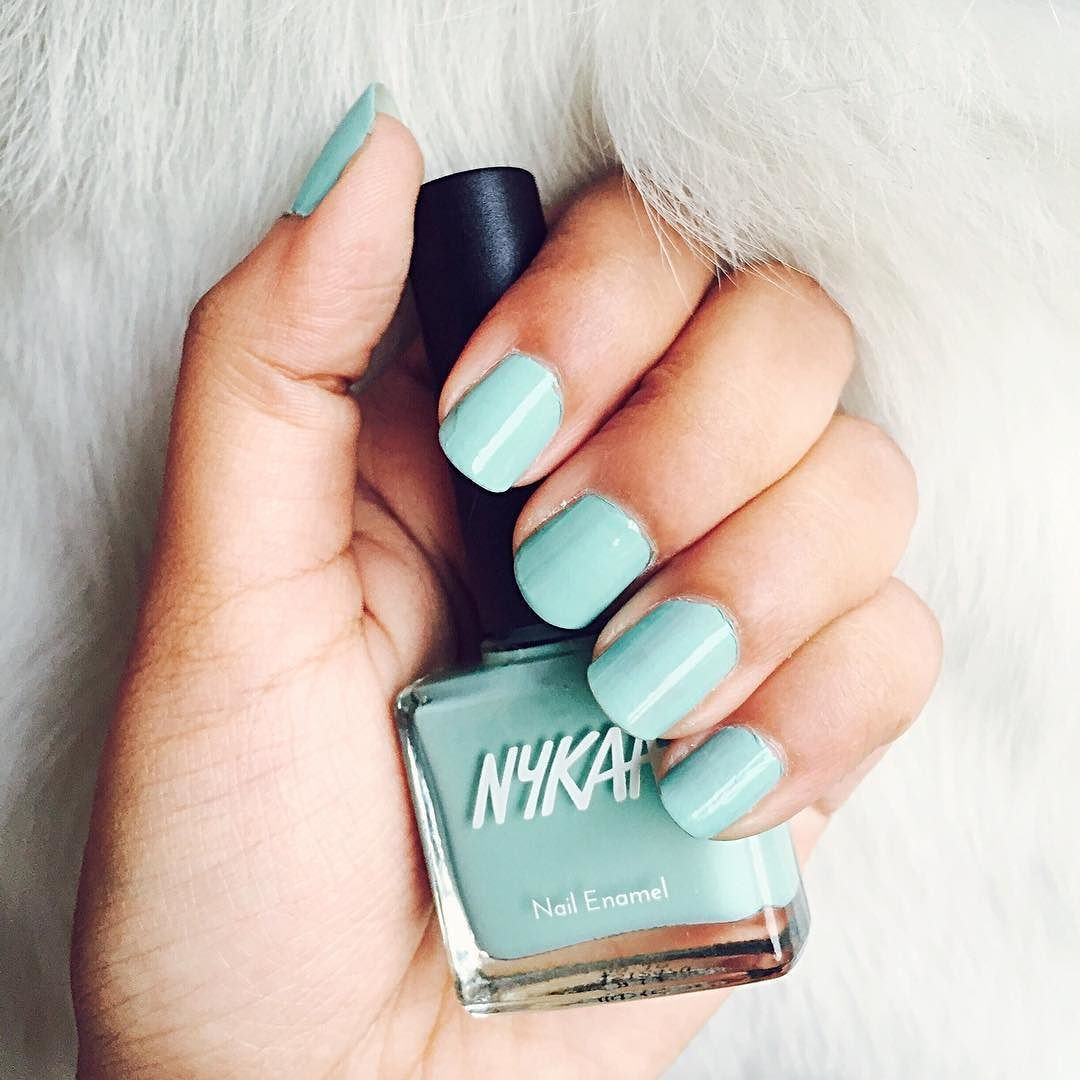 Loving the new @mynykaa nail paints. They have gorgeous color shades and this one's Mint Meringue!