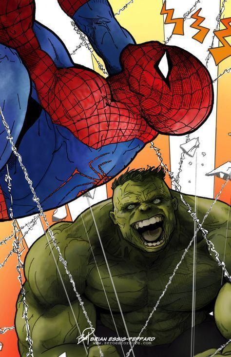 #Hulk #Fan #Art. (The Incredible Hulk vs The Amazing Spider-Man) By: Brian-Essig-Peppard. ÅWESOMENESS!!!™ ÅÅÅ+