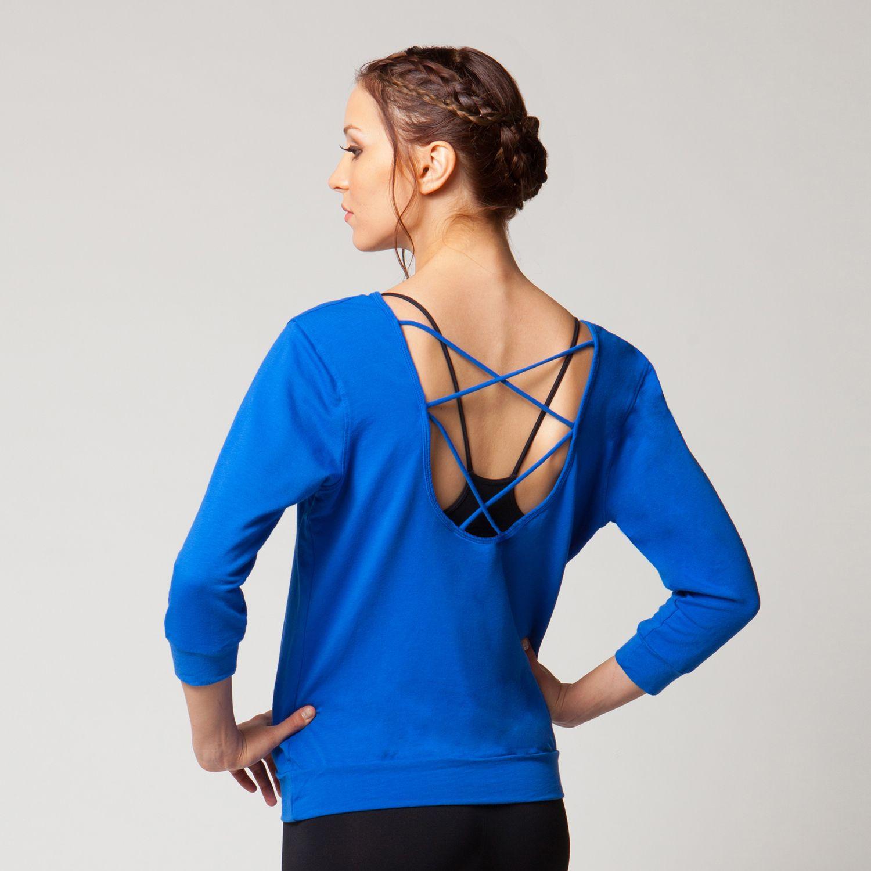 SPLITS 59 Sadie Scoop Back Pullover - Mariana Blue