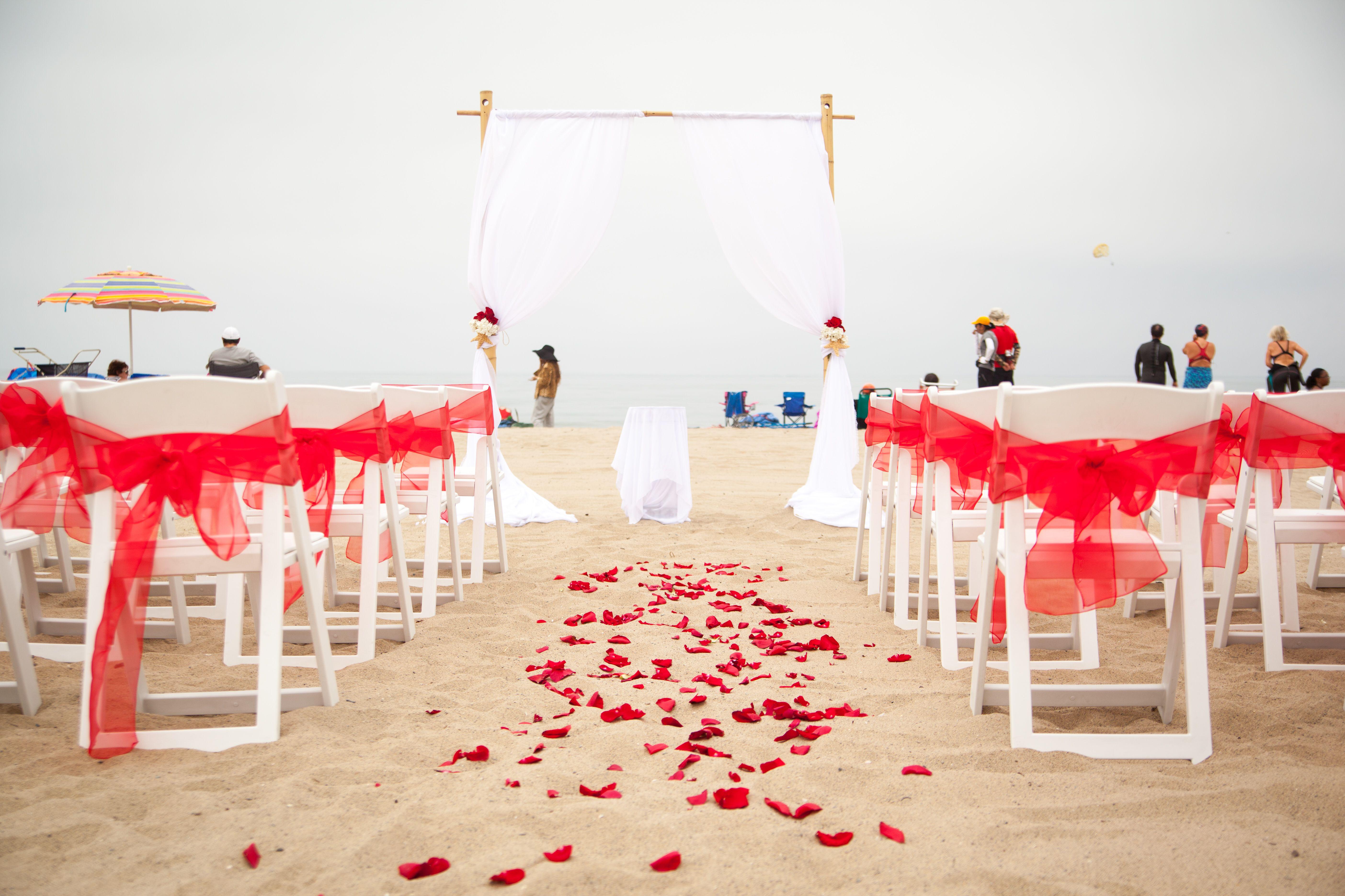 Santa Monica Beach Red And White Wedding Weddings