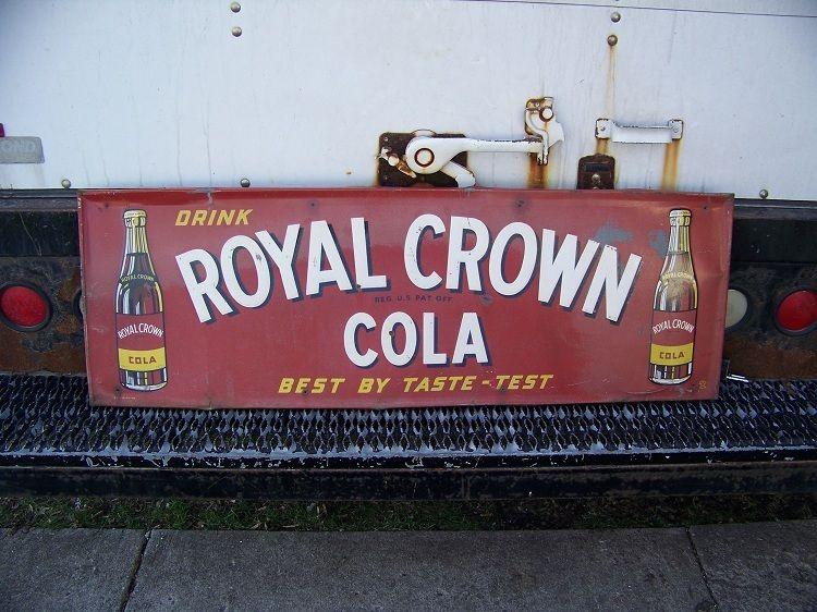 1947 Royal Crown Cola Soda Pop Bottle Embossed Metal Sign