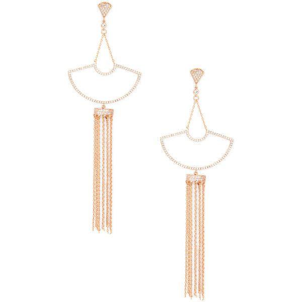 Sole Society Chandelier Drop Earrings ($38) ❤ liked on Polyvore featuring jewelry, earrings, rose gold, art deco drop earrings, drusy earrings, chain drop earrings, deco earrings and geometric jewelry