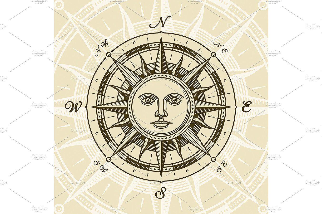 Vintage Sun Compass Rose Compass Rose Vintage Compass Compass Tattoo Design