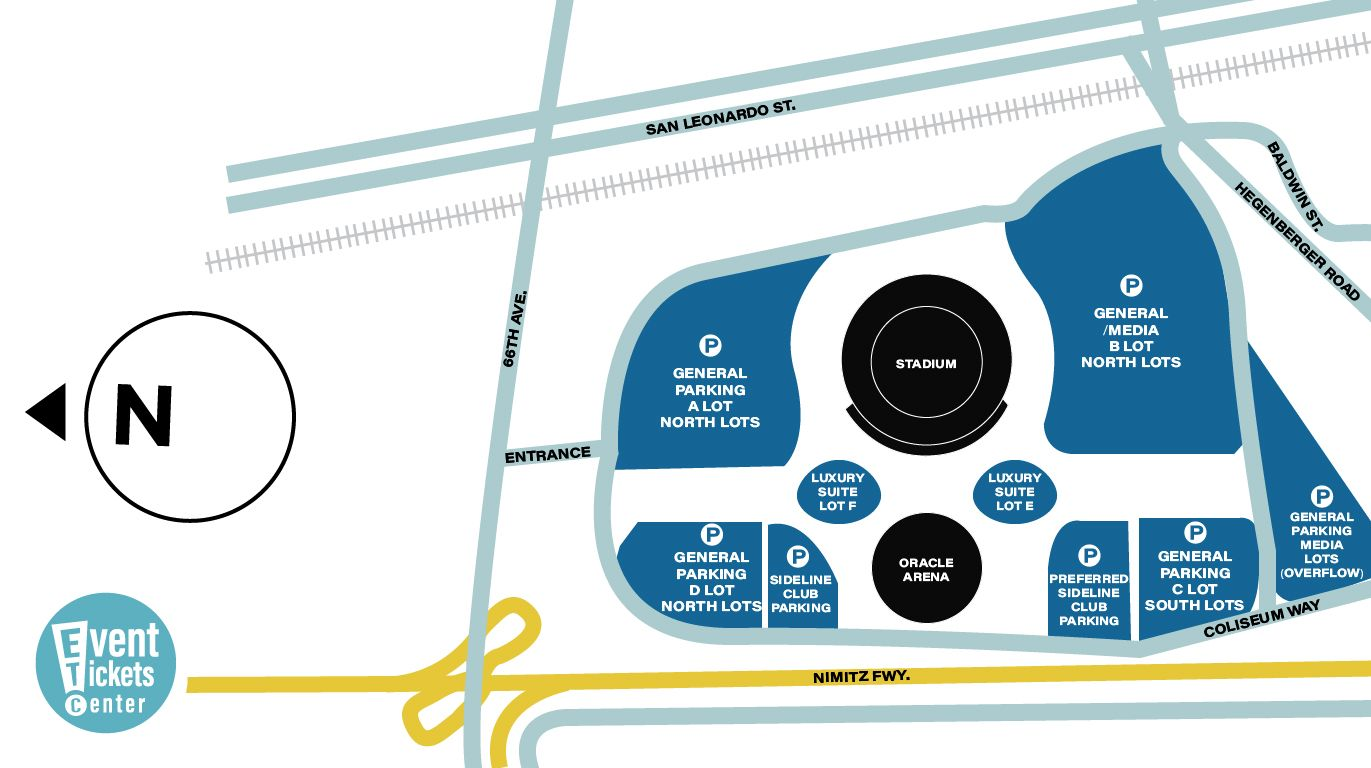 Map of parking near the Oracle Arena in Oakland, California ...