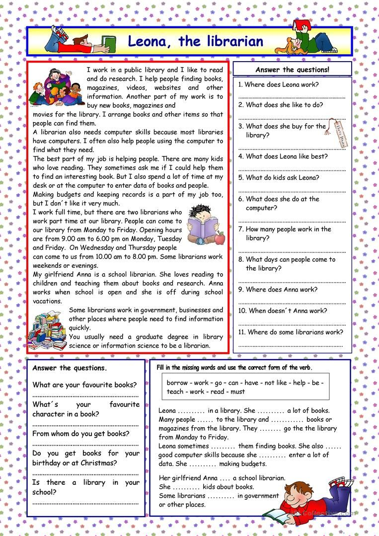 Leona The Librarian Key Worksheet Free Esl Printable Worksheets Made By Tea Reading Comprehension Worksheets Reading Comprehension English Writing Skills [ 1079 x 763 Pixel ]