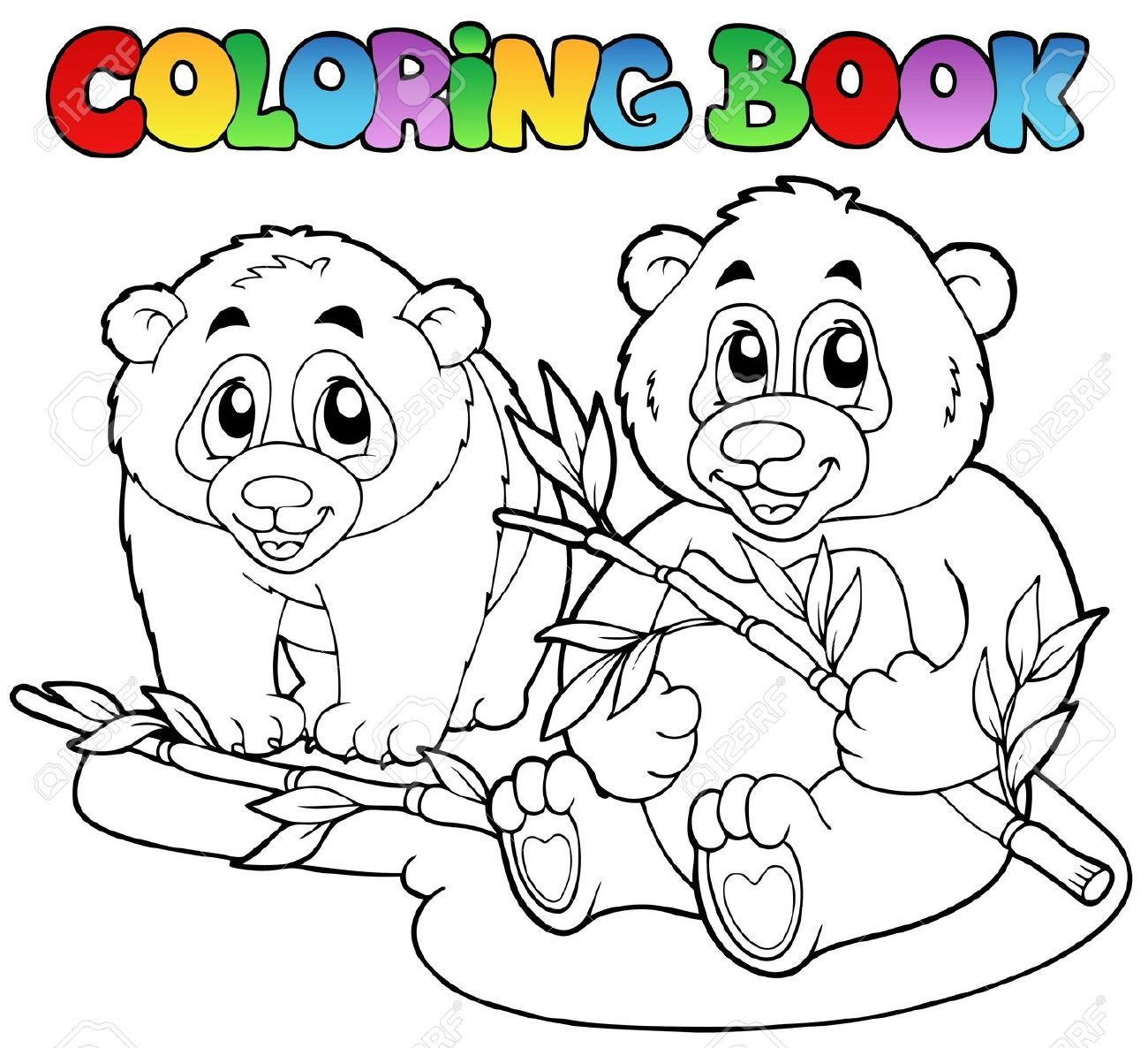 Coloring book with two pandas vector illustration