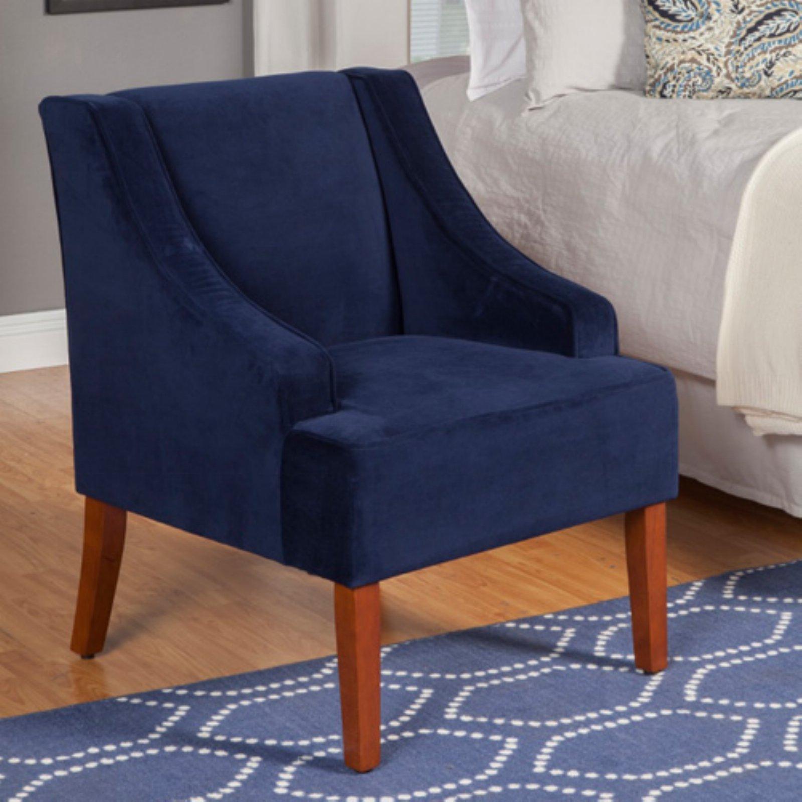 Best Kinfine Usa Swoop Arm Velvet Accent Chair Navy Blue 400 x 300