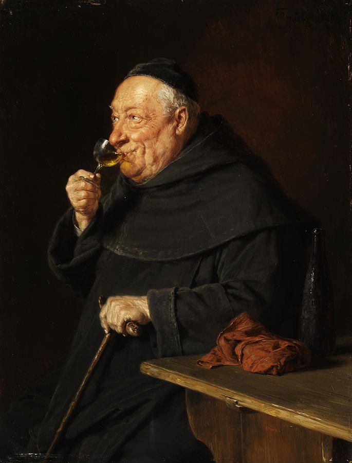 Monk with a wine painting monk with a wine fine art for Painting while drinking wine