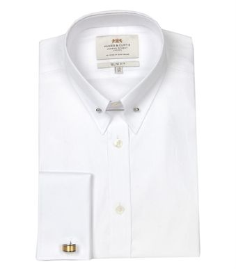 e30e4393183 Men s Plain White Twill Slim Fit Limited Edition Double Cuff Shirt - Collar  Bar