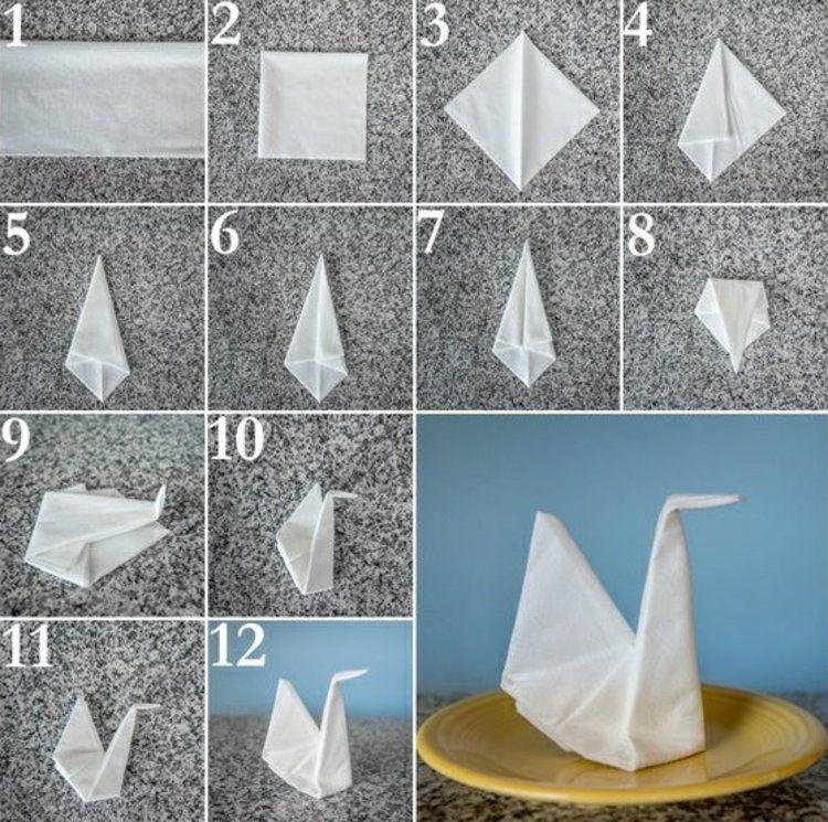 weiße Stoffservietten falten Anleitung Einrichtung selbst bauen - servietten falten tischdeko esszimmer