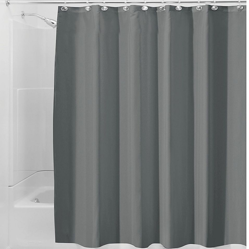 Interdesign Waterproof Fabric Shower Curtain Liner In Charcoal