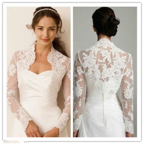 Details About Ivory White Lace Wedding Jackets Bridal Long Sleeve