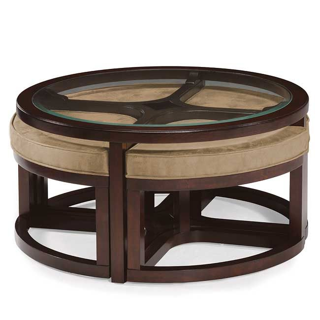Juniper Round Cocktail Table W 4 Stools Coffee Table With