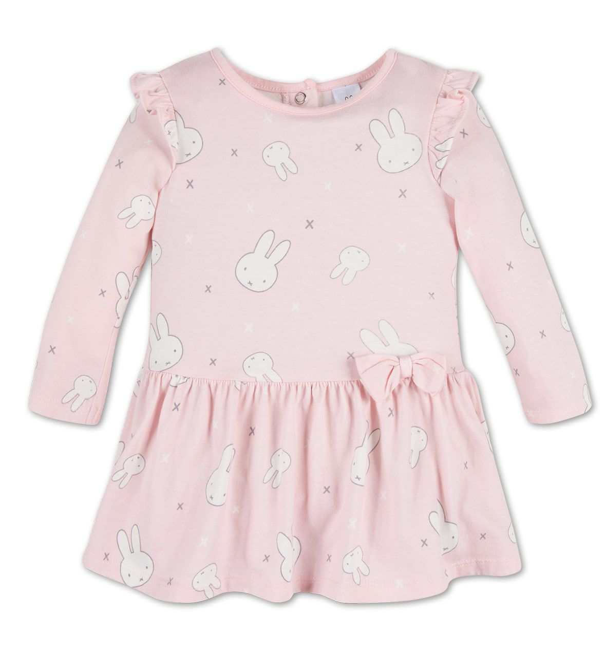 Frontimage view Langärmeliges Miffy Baby-Kleid in rosa