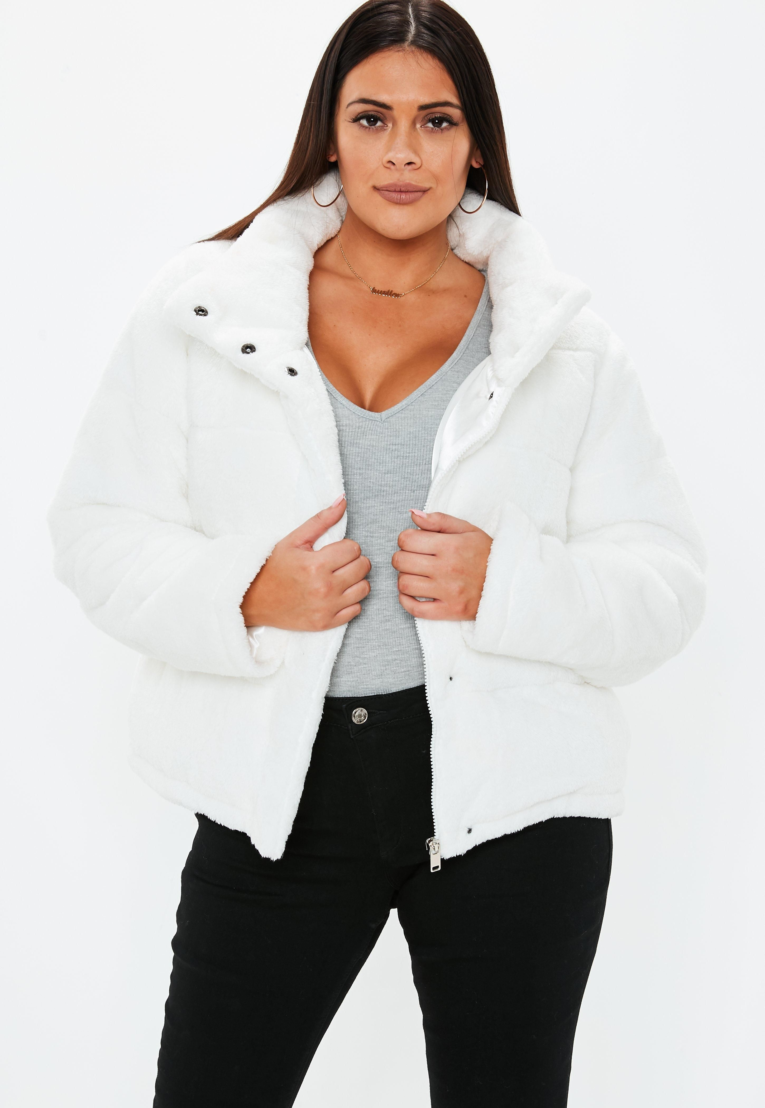 plussizecreamfauxfurpufferjacket Puffer jackets