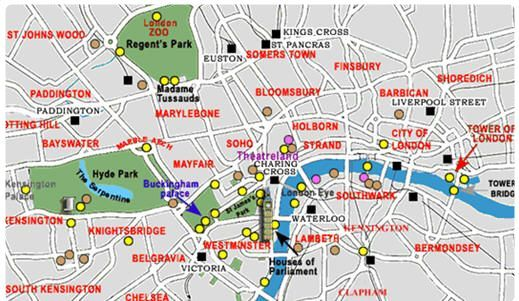 central london map with hotels for each area