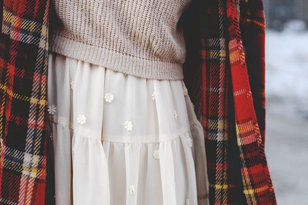 Plaid scarf, knit sweater, ruffle dress